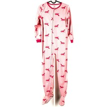 Carters Footed Fleece Pajamas 10 Girls Pink Horse Footie Youth Winter - $21.64