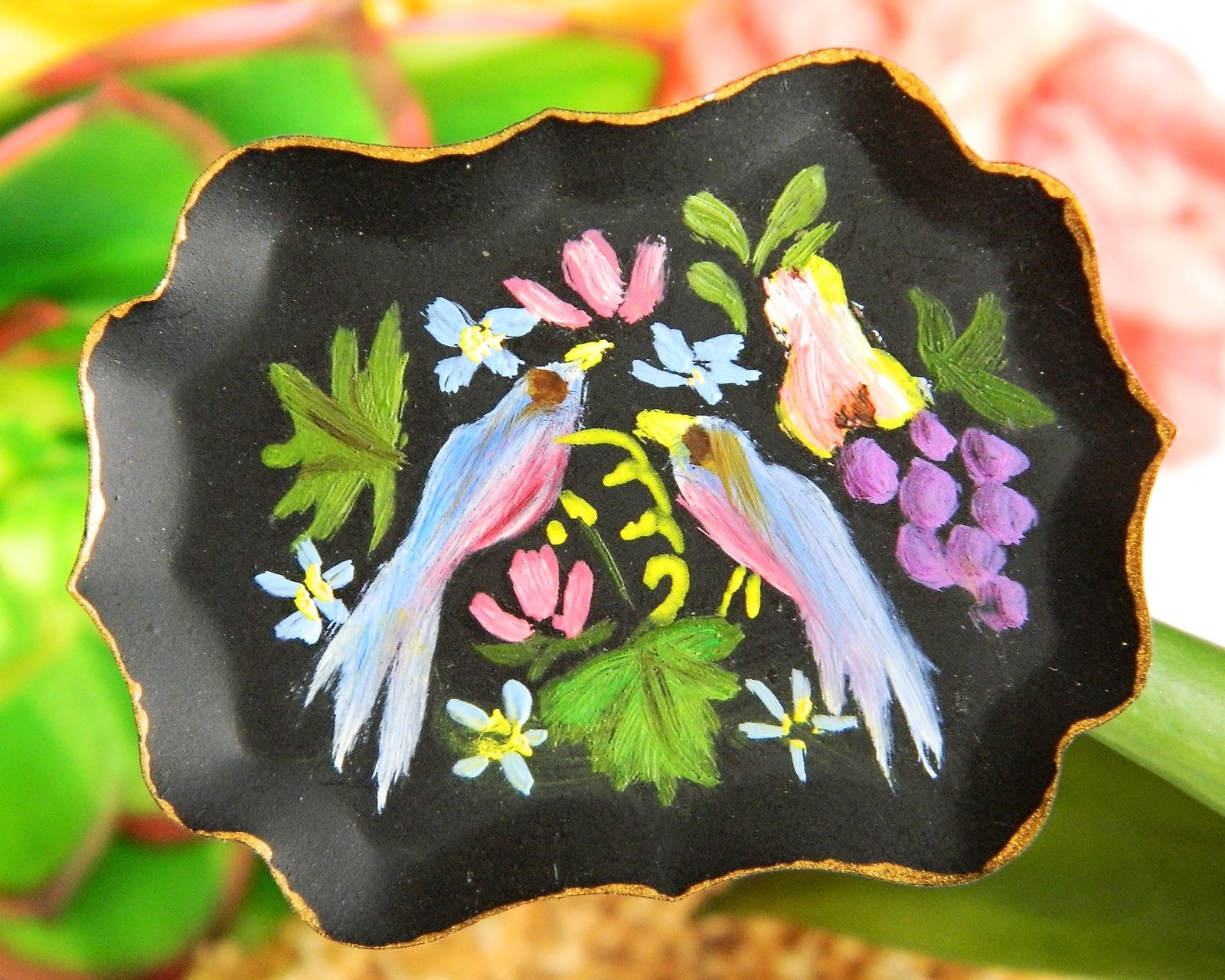 Vintage birds fruit flowers tole art tin tray hand painted pin brooch