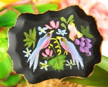 Vintage birds fruit flowers tole art tin tray hand painted pin brooch thumb155 crop