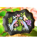 Vintage Birds Fruit Flowers Tole Art Tin Tray Hand Painted Brooch Pin - $24.73 CAD