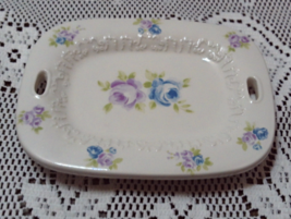 Vintage Shabby Chic Cottage Pink & Blue Roses Soap Dish - $8.50