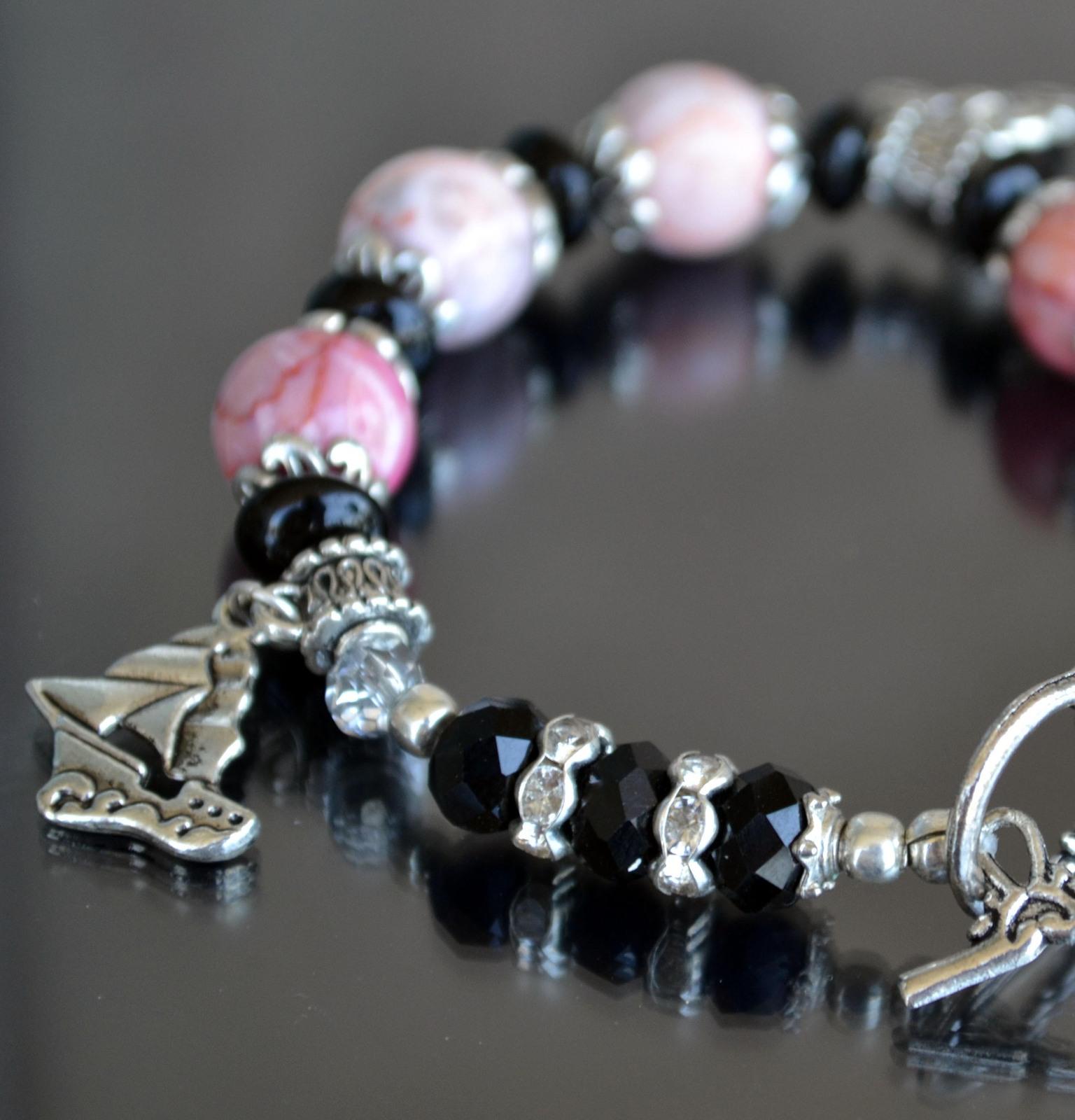 Bracelet, Gemstone bracelet, Statement bracelet, pink (B13) image 2