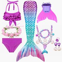 10pcs Girls Kids Mermaid Tail With Monofin Swimmable Bikini Set Tail  Swimwear - $35.99