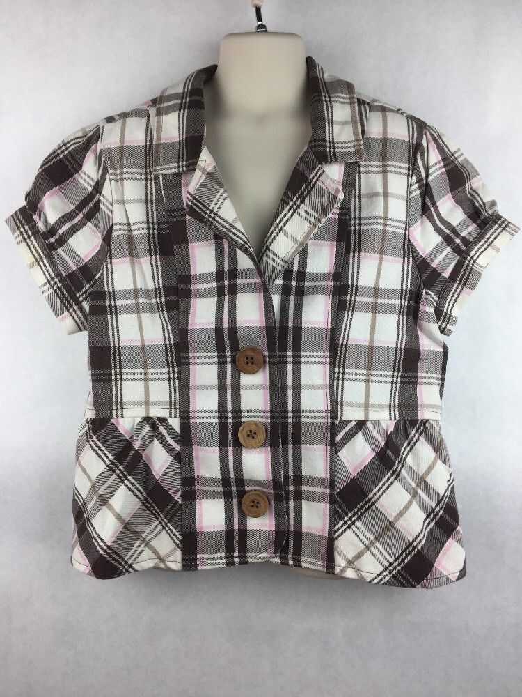 Girl's Justice Brown pink White Plaid Short Sleeve 3 Button Blazer Size L 14