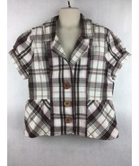 Girl's Justice Brown pink White Plaid Short Sleeve 3 Button Blazer Size ... - $14.84