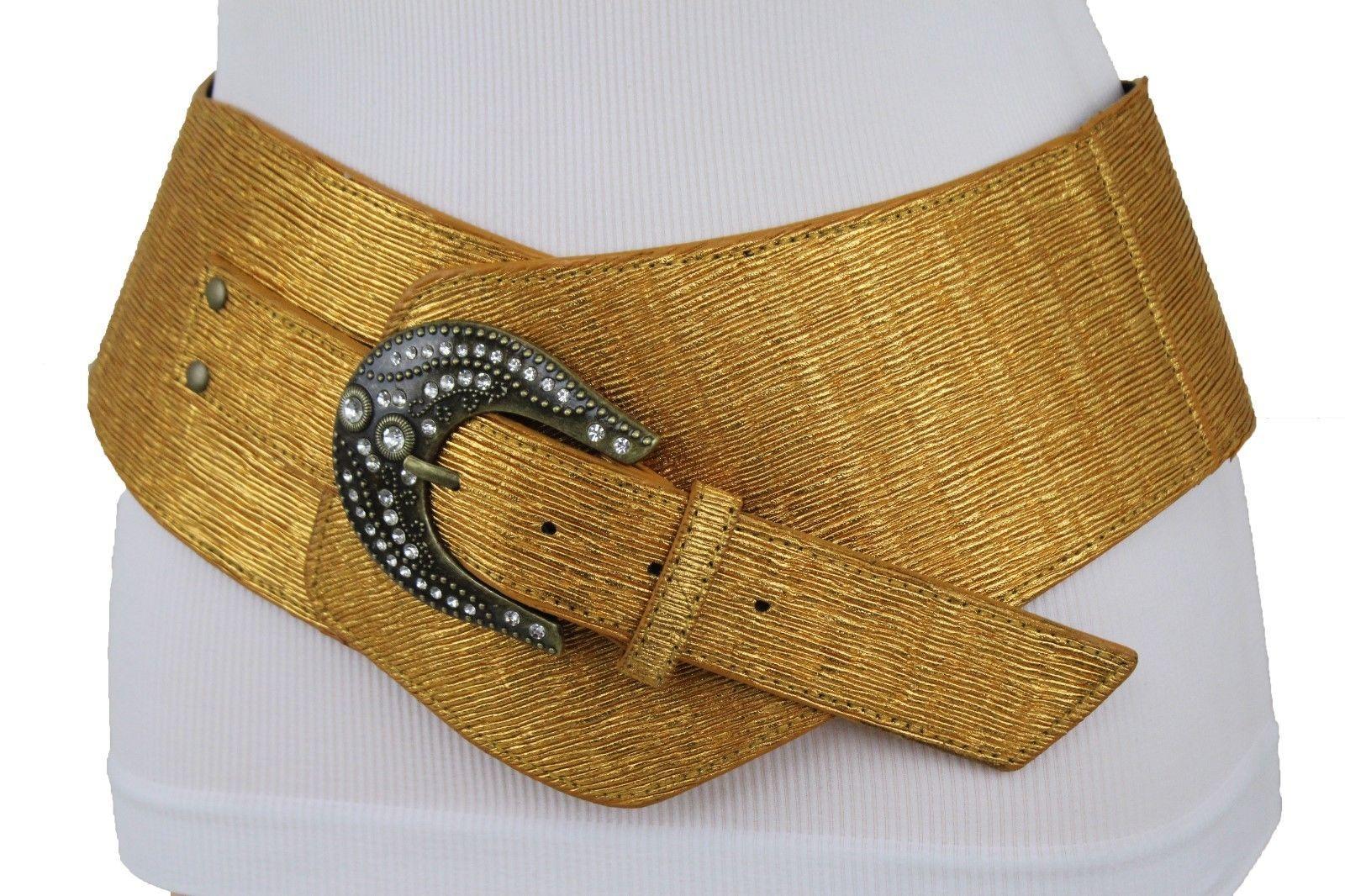 Süß Damen Breit Metallic Gold West Modischer Gürtel Hip Hohe Taille Bling