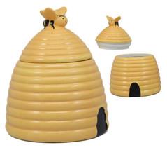 Rustic Wildlife Busy Honey Bumblebee Bee Hive Beehive Ceramic Cookie Jar... - $33.99