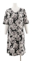 Isaac Mizrahi SOHO Elbow Slv Floral Printed T-Shirt Dress Grey 2X NEW A3... - $27.70