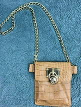 Michael Kors Chain Belt Purse Fanny Bag Tan Leather Croc Embossed Gold  - $49.49