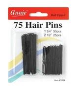 """Annie 75 Hair Pins Ball Tipped Bobby Pin Grip Clips 1 3/4"""" & 2 1/2"""" Blac... - $4.90"""