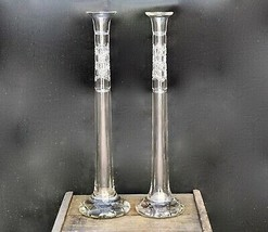 Magnificent Pair ABP American Brilliant Period Cut Crystal Tall Candlest... - $999.99