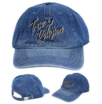 True Religion Men's Retro Script Logo Denim Baseball Cap Sports Strapback Hat