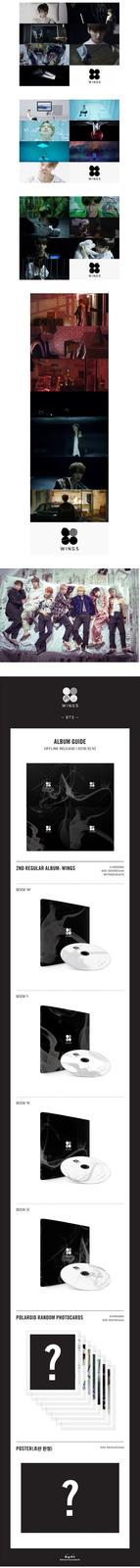 BTS-[WINGS] 2nd Album Random Ver. CD+POSTER+96p Photo Book+1p Card K-POP Sealed