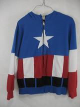 Captain America Mask Hoodie Hooded Sweatshirt Youth L 12/14 Marvel - $12.86