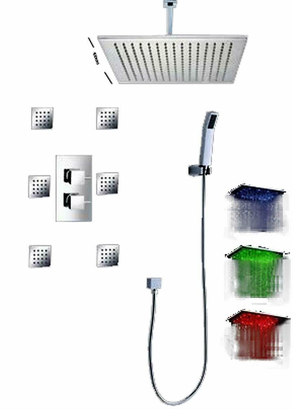 "16"" Square Ceiling Mount Rainfall LED Shower Head Chrome Top Sprayer - $742.49"