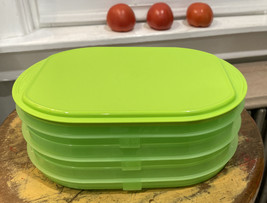 Tupperware 4 Pc Lime Green Fridge Stackables Deli Keeper Containers & Li... - $10.40