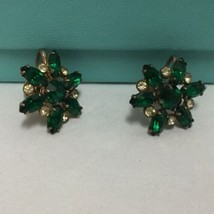 Vintage Coro Earrings Green Clear Rhinestones Screw Backs - $19.79