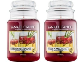 2 BUBBLY POMEGRANATE Yankee Candle 22 oz Large Jar Candles Lot of TWO-Fe... - $38.50