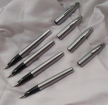 4 Pc Sheaffer Imperial Stainless Steel Fountain Pen Made In USA - $193.55