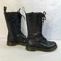 Dr Doc Martens Womens Size 5 Black Boots Lace Up 1B99 14 Eye Zip Leather - $79.98