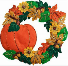 Bucilla Felt Kit, Fall Wreath, 16x15in embroidery, Pumpkin, Halloween, 8... - $41.99