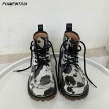 PUIMENTIUA Women Motorcycle Boots Autumn Winter Vintage Print Boots Women Hig... - $18.29+