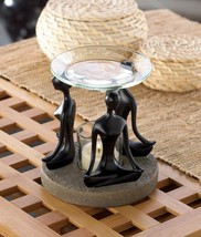 BLACK Stone-look figurines base tealight candle holder YOGA POSITION OIL... - $16.92