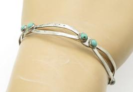 MEXICO 925 Silver - Vintage Antique Petite Turquoise Cuff Bracelet - B6200 - $29.27