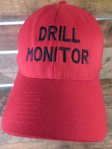 Drill Monitor Red Black Flex Fitted S-M Adult Cap Hat - $9.89