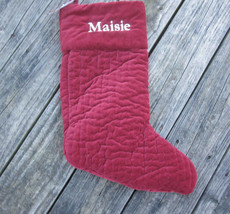 NEW Pottery Barn Christmas Stocking Burgundy Quilted Velvet MAISIE Name Monogram - $23.00