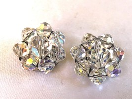 Vintage Aurora Borealis Round Cluster Faceted Beads Clip On Earrings - $23.76