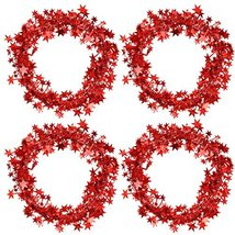 Bememo 4 Pack 16 Feet Star Shaped Garland Red Tinsel Wire Garland Tinsel Star Br image 2