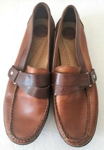 Womens Bass Detour Leather Saddle Brown Slip On Loafers Moccasins Shoes 7.5 US - $99.99