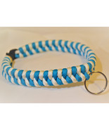 "Paracord 550 Dog Collar Teal Blue & White Fish Tail Design 12 1/2"" Black... - $15.00"