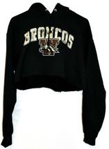 Jerzees NuBlend Western Michigan Broncos Graphic Crop Hoodie Sweatshirt Size M