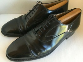 Salvatore Ferragamo 9 EE Black Dress Oxford Lace-Up Shoes Made in Italy 9 2E 9EE - $98.01