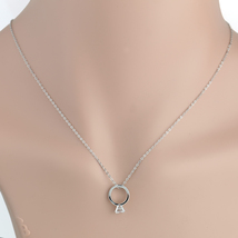 UE-Stylish Silver Tone Necklace With Faux White Sapphire Engagement Ring Pendant - $18.99