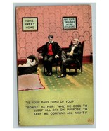 Vintage 1900's Bamforth Comic Postcard Two Men Looking Over Crying Baby ... - $15.81