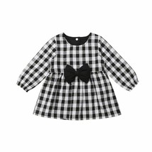 Newest Baby Girls Autumn Cotton Plaid Clothes Long Sleeve Party Top Str... - $7.59