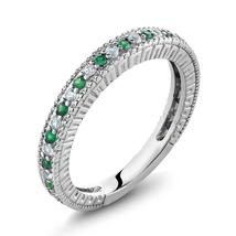 925 Sterling Silver Wedding Engagement Ring Nano Emerald & White Created... - $80.97