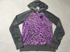 NWT Justice 14 Gray Purple Leopard Velour Zip Front Hoodie Jacket Glitte... - $15.47