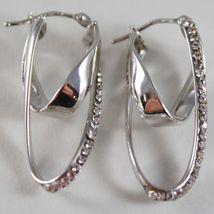 White Gold Earrings 750 18k Double Oval Corrugated Circle, 3.2 CM, Zirconia image 3