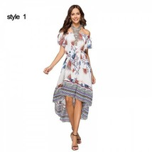 Off Shoulder Short Sleeve Floral Print Split Beach Party Irregular Dress - $50.40