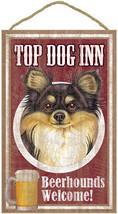 "Top Dog Inn Beerhounds Chihuahua Long Hair Bar Sign Plaque dog 10"" x 16""... - $21.95"