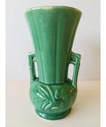 Vintage Nelson McCoy Pottery Vase Green 2 Handled Art Deco Tulip Design - $19.99