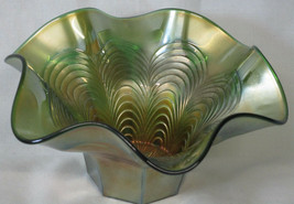 Fenton Green Peacock Feather Bowl General Furniture Co 1910 - $85.03