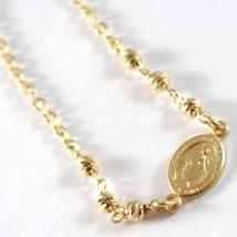 Bracelet en or Jaune 750 18K, Rolo, Billes à Facettes Médaille Miraculeuse image 2