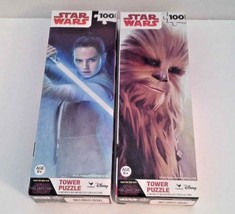 Star Wars Wookie and Rey The Last Jedi Jigsaw Tower Puzzle Lot With 100 ... - $11.88