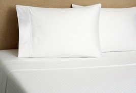 Sferra 1891 White Striped Full Sheet Set Piping 100% Cotton Sateen 300 T... - $220.00