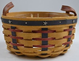 Longaberger 2004 Proudly American Button Basket Combo With Protector Hom... - $44.99